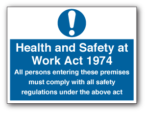 "Professional Factory Lighting - Health and Safety at Work Act sign. ""All persons entering these premises must comply with all safety regulations under the above act/"""