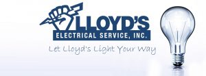 "commercial electrical company - image shows the logo for Lloyd's Electric Service, Inc. with the slogan ""Let Lloyd's Light Your Way"" and an image of a lightbulb"